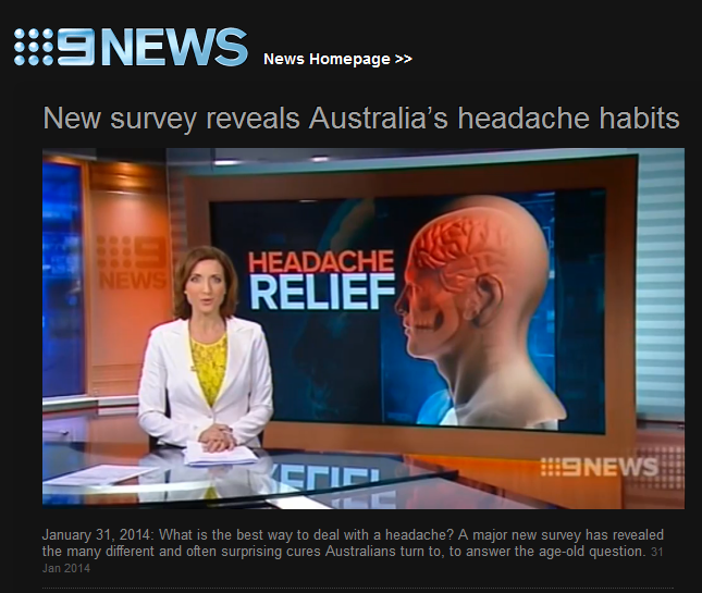 Channel 9 coverage of www.headache.com.au